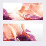 Two floral watercolor banners with iris flowers. The templates  you can use for visit cards, labels or banners Stock Images