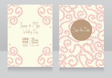 Two floral wedding cards, beautiful romantic design Stock Photos
