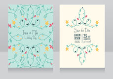 Two floral wedding cards, fresh colours. Two floral wedding cards, beautiful design, vector illustration royalty free illustration