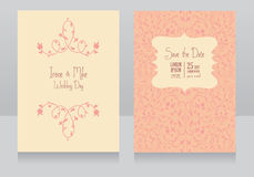 Two floral wedding cards, pink colours. Two floral wedding cards, beautiful design, vector illustration royalty free illustration