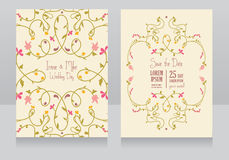Two floral wedding cards, summer colours Royalty Free Stock Photography