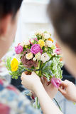 Two florists create amazing bouquet Stock Photos