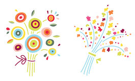 Two Flower Bouquets. Cute and colorful flower bouquets in contemporary style Royalty Free Stock Photography