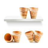 Two flowerpots. Two clay flower pots collection isolated on white background Stock Photo