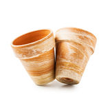 Two flowerpots. Two clay flower pots isolated on white backgrounds. Object with clipping path stock image