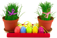 Two flowerpots with fresh grass and row of multicolor Easter egg Stock Photo