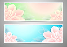 Two flowers banners on green marine background Royalty Free Stock Image