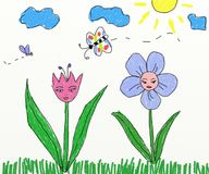 Two flowers children drawing Stock Image