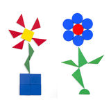 Two flowers of geometric figures Stock Image