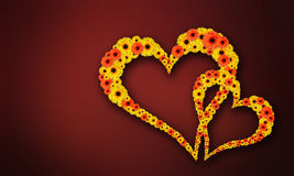 Two flowers heart Royalty Free Stock Photography
