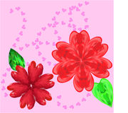 Two flowers and hearts Stock Photography