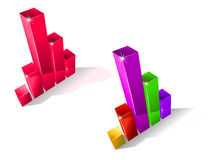 Two fluctuating bar graphs. Two colourful fluctuating bar graphs viewed from a high angle, one in red and one multicoloured with sparkling corners, three Royalty Free Stock Photo