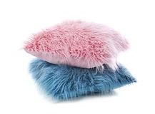 Two fluffy pillows. On white background Stock Image