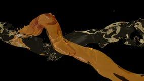 Two fluid flow. On black stock video footage