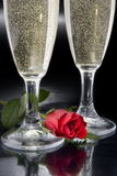 Two flutes of champagne Stock Image