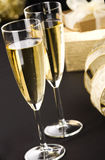 Two flutes of champagne on black Royalty Free Stock Photo