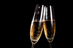 Two flutes of champagne Royalty Free Stock Photo