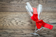 Two flutes on the wooden table Stock Photos