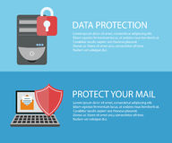 Two flyers about data security on your computer, laptop Stock Images