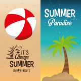 Two flyers summer paradise palm and its always in my heart vector illustration