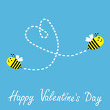 Two flying bees. Dash heart in the sky. Happy Vale Royalty Free Stock Photography