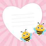 Two flying bees and heart shape. Vector illustration Royalty Free Stock Photography