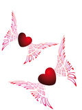 Two flying hearts Stock Photography