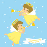 Two flying little angels blowing trumpet. Vector illustration on blue background stock illustration