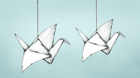 Two flying Paper Cranes. Illustration of two paper cranes Stock Images