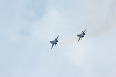 Two flying russian military jet fighter MIG-29 Stock Photo