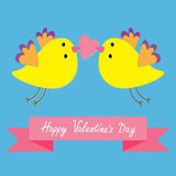 Two flying yellow bird family couple holding heart. Happy Valentines Day. Pink ribbon. Love Greeting card. Cute cartoon character Stock Photos