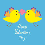 Two flying yellow bird family couple holding pink heart. Happy Valentines Day. Love Greeting card. Cute cartoon character set. Fla Royalty Free Stock Images