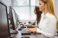 Two focused women working in computer room Royalty Free Stock Photography