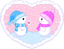 Two follow in love snowman Royalty Free Stock Image