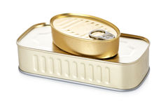 Two food tin can. Reflected on white background. Shallow depth of field Stock Photography