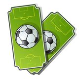 Two football cards in cartoon style. Soccer ball on green playing field. Vector illustration isolated on white. Background Stock Photos