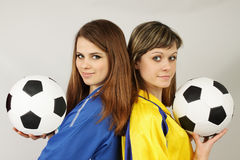 Two football fans Stock Photography
