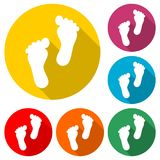 Two footprint icon, color icon with long shadow. Simple vector icons set Stock Images