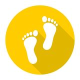 Two footprint icon with long shadow Stock Photo
