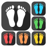 Two footprint icons set with long shadow. Vector icon Royalty Free Stock Images