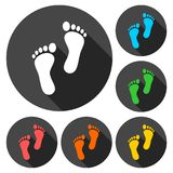 Two footprint icons set with long shadow. Vector icon Stock Image