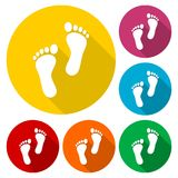 Two footprint icons set with long shadow. Vector icon Stock Photography
