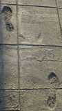 Two footprints in the cement sidewalk Royalty Free Stock Images