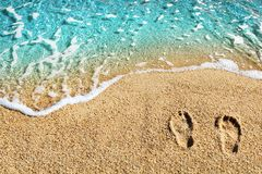 Free Two Footprints On Yellow Sand, Blue Sea Wave, White Foam Top View Close Up, Turquoise Ocean Water, Summer Vacations Concept Stock Images - 161560744