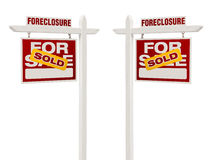 Two Foreclosure Sold For Sale Real Estate Signs, Clipping Path Royalty Free Stock Photos