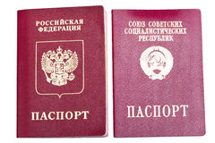 Two foreign passports - Russia and the Soviet Union Royalty Free Stock Photo