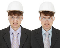 Two foremen - twins. Isolated on a white background Royalty Free Stock Image