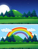 Two forest scenes night and day. Illustration Royalty Free Stock Photo