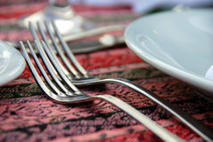 Two forks. Served on dinner table closeup Royalty Free Stock Photo