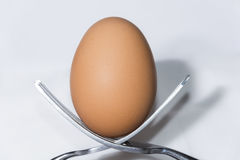 Two forks balanced to hold and egg. Forks balanced to hold an egg Stock Photography
